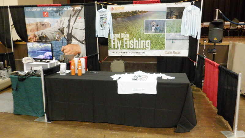 Trade show booth for the Fly Fishing Faire in So. Cal.