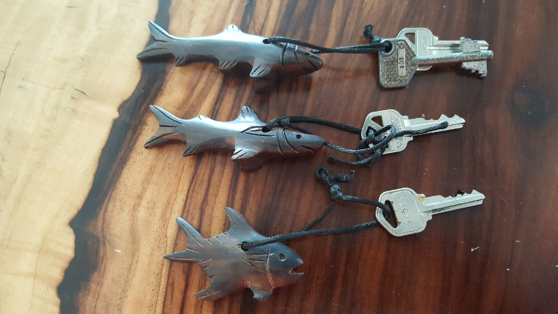 New hand carved keychains for the rooms at Acocote Eco Inn