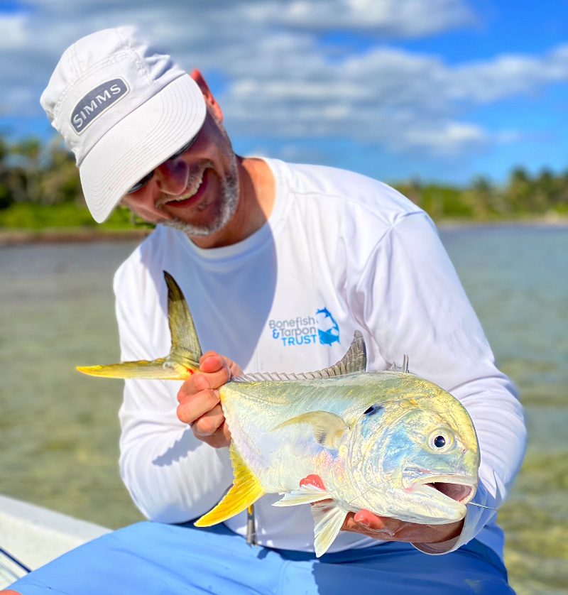 Dr. Ryan Mickelson with a nice Jack Crevalle in Chetumal Bay, Xcalak, Mexico