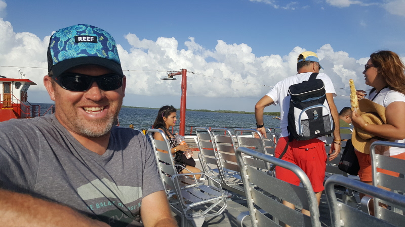 Greg on the Ferry to Isla Holbox