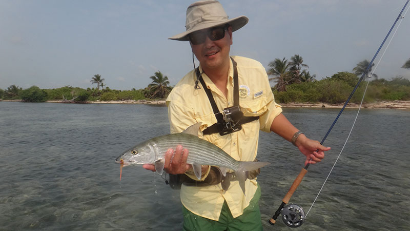 Rob with a bonefish, a short stroll north of the Inn.