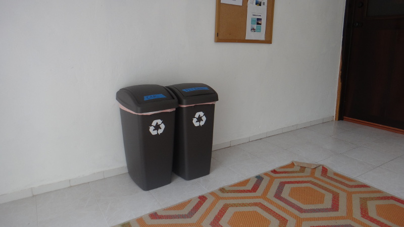 Recycling cans at Acocote Eco Inn